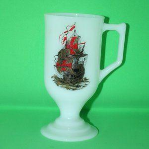 Vintage MILK GLASS Footed Coffee Mug Cup